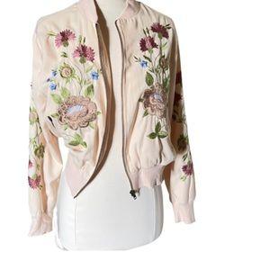 Glamorous Floral Embroidered Blush Bomber Jacket